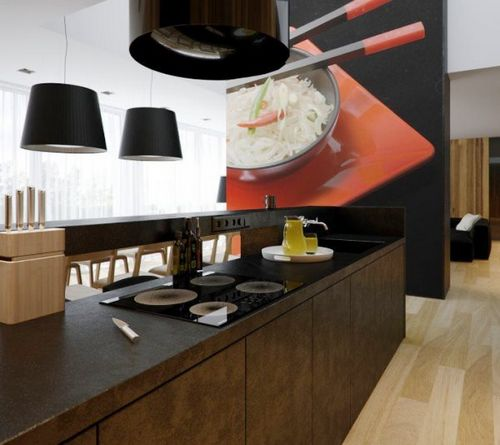 3д обои на кухню: фото интерьеров, правила размещения