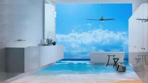 3Д полы в ванной: фото примеры дизайна