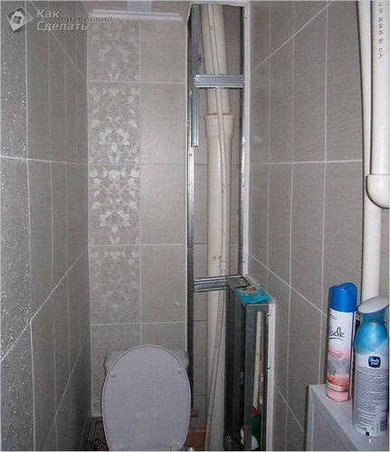 Как закрыть трубы в туалете - несколько вариантов декорации труб   фото