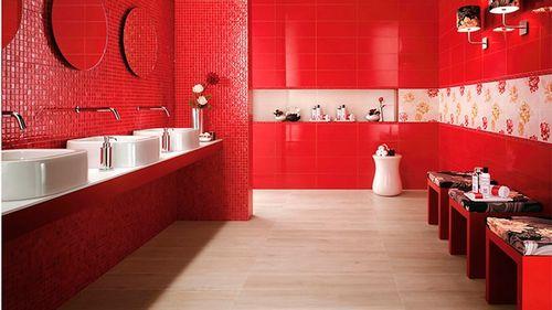 Красная ванная комната: дизайн, фото плитки на пол