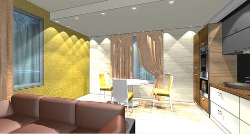 Кухня и гостиная в стиле минимализм. Дизайн и фото