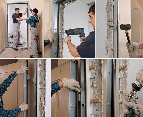 Монтаж входной металлической двери: способы крепления, технология установки, регулировка