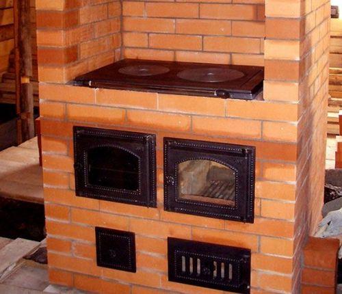 Отопительно варочные печи из кирпича: кирпичные печи для дома с варочной плитой, как сложить печь с камином, схемы и порядовки, печь духовая отопительная с варочной панелью, деревенская печь для дома