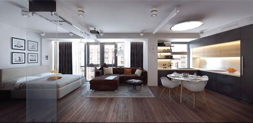 Планировка большой квартиры-студии, примеры интерьеров, видео