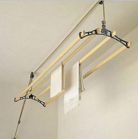 Потолочная сушилка для белья: установка подвесной и настенно-потолочной системы