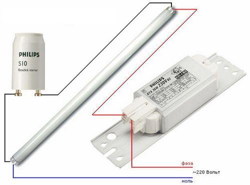 Схема подключения люминесцентных ламп, видео инструкция
