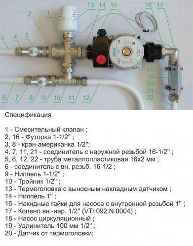 Смесительный узел для теплого пола своими руками из полипропилена: расчет, схема, фото и видео инструкция