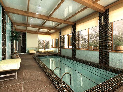 Современный и стильный дизайн бассейна в частном доме фото