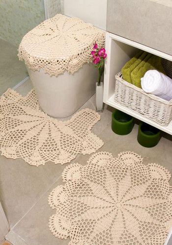 Вязанные крючком коврики в ванную комнату: схемы вязания и полезные рекомендации
