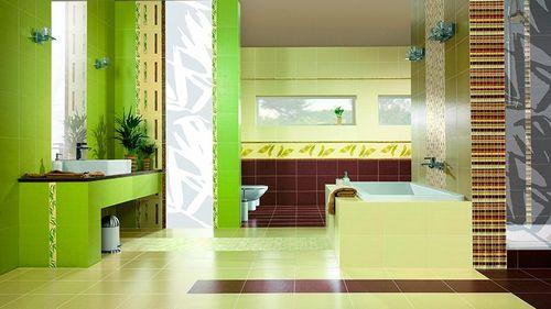 Зеленая плитка для ванной: дизайн комнаты в зеленых тонах